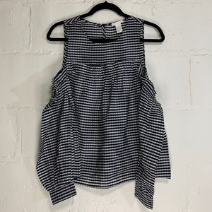 H&M Gingham Cold Shoulder Puff Sleeve Ruffle Top